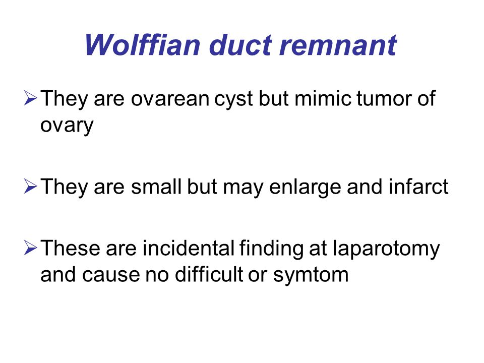 Wolffian duct remnant They are ovarean cyst but mimic tumor of ovary