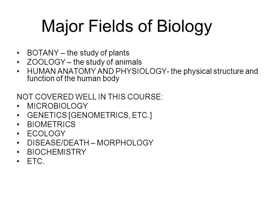 Major Fields of Biology