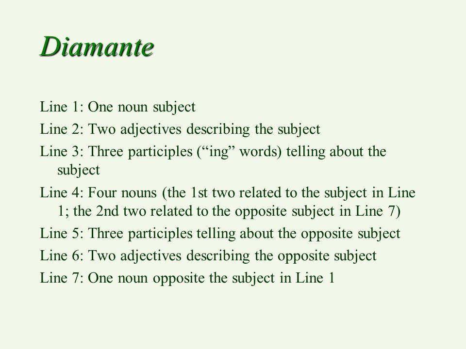 Diamante Line 1: One noun subject