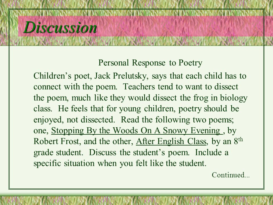 Personal Response to Poetry