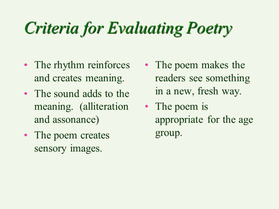 Criteria for Evaluating Poetry