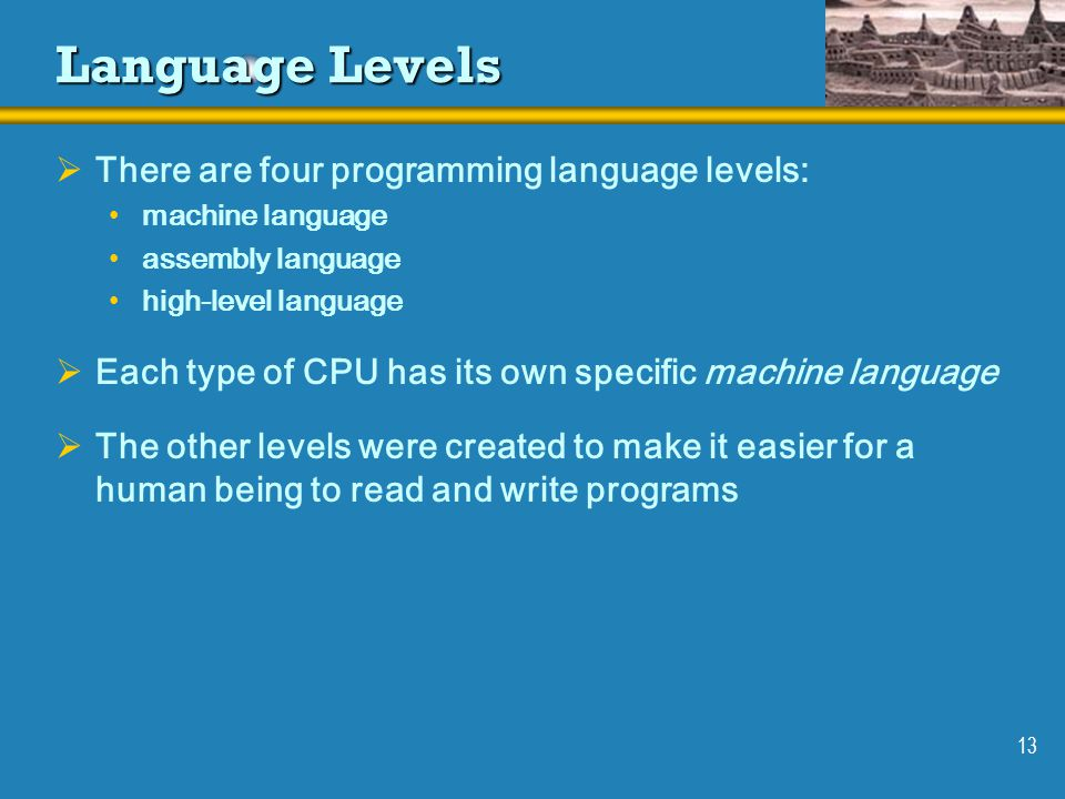 Language Levels There are four programming language levels:
