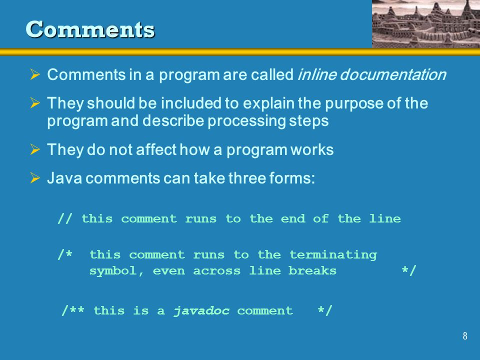 Comments Comments in a program are called inline documentation