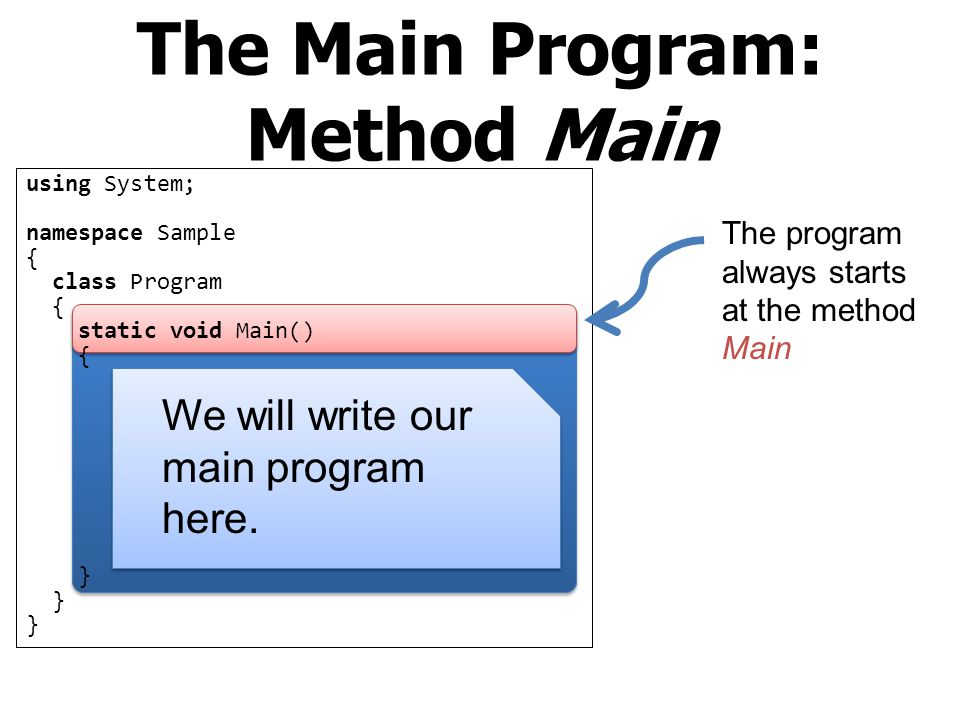 The Main Program: Method Main
