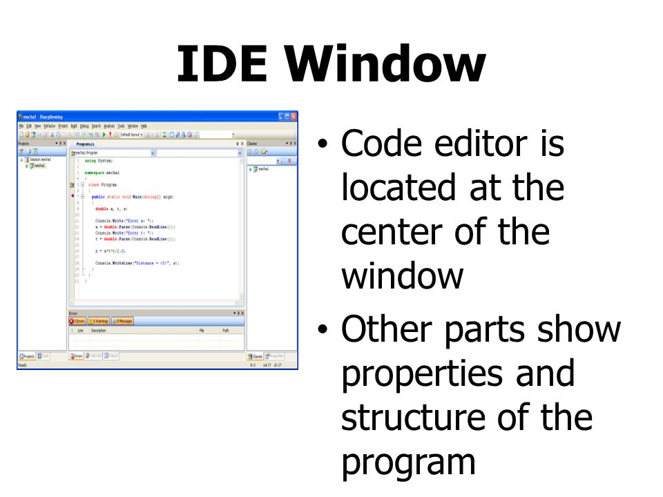 IDE Window Code editor is located at the center of the window