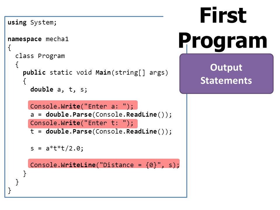 First Program Output Statements