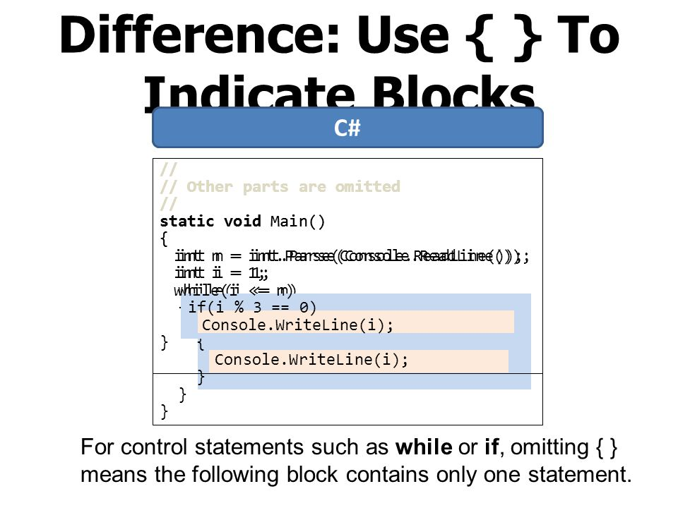 Difference: Use { } To Indicate Blocks
