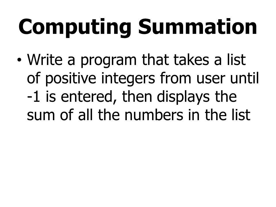 Computing Summation