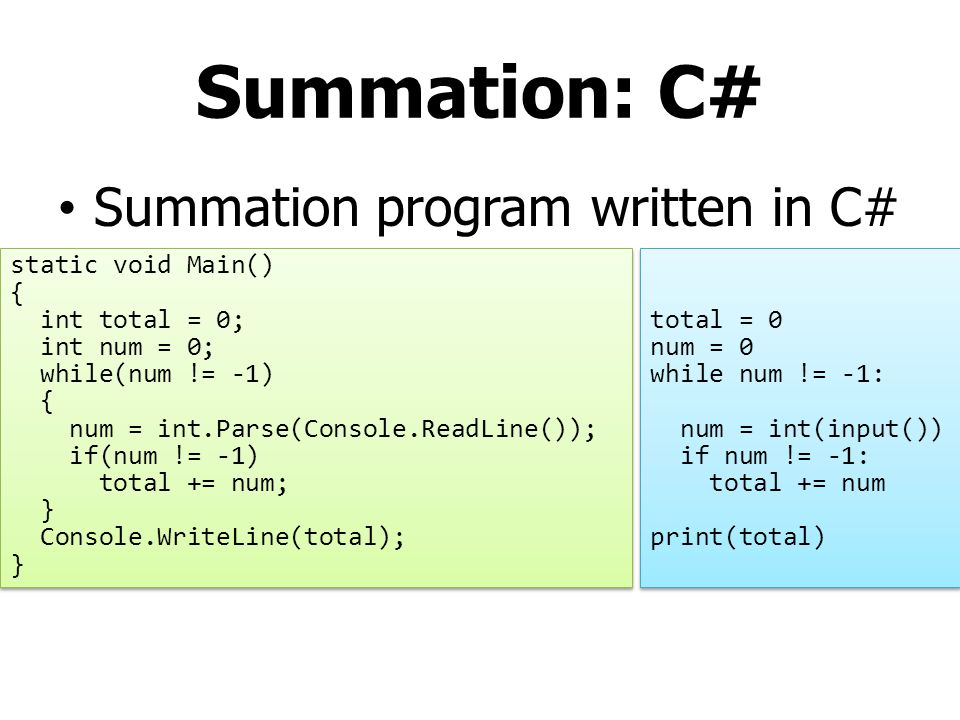 Summation: C# Summation program written in C# static void Main() {