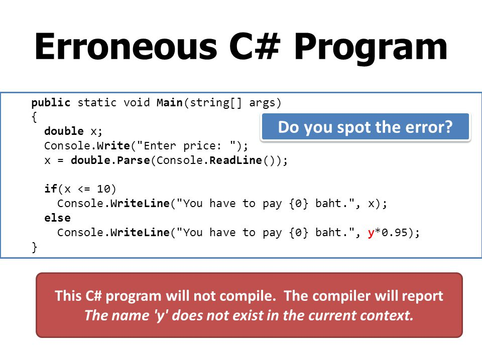 Erroneous C# Program Do you spot the error