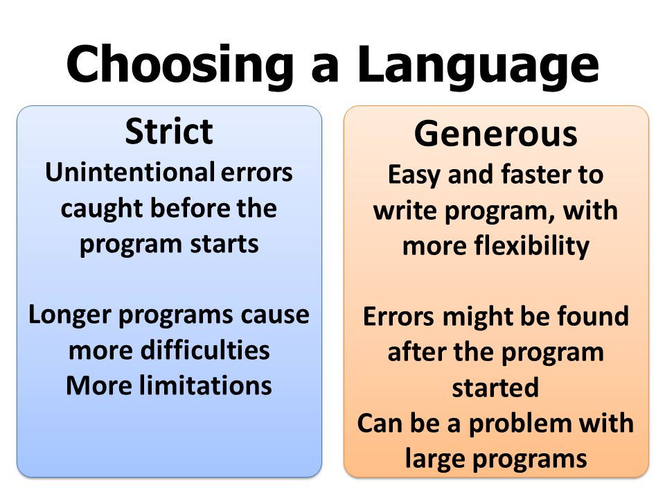Choosing a Language Strict Generous