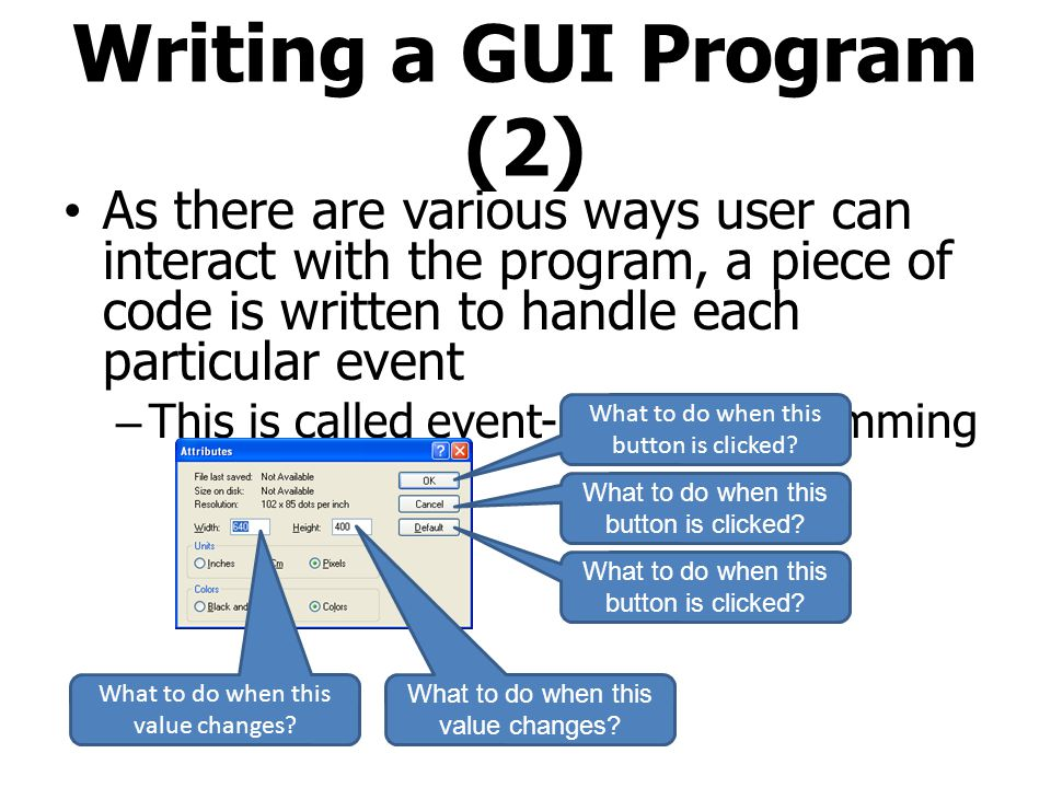 Writing a GUI Program (2)