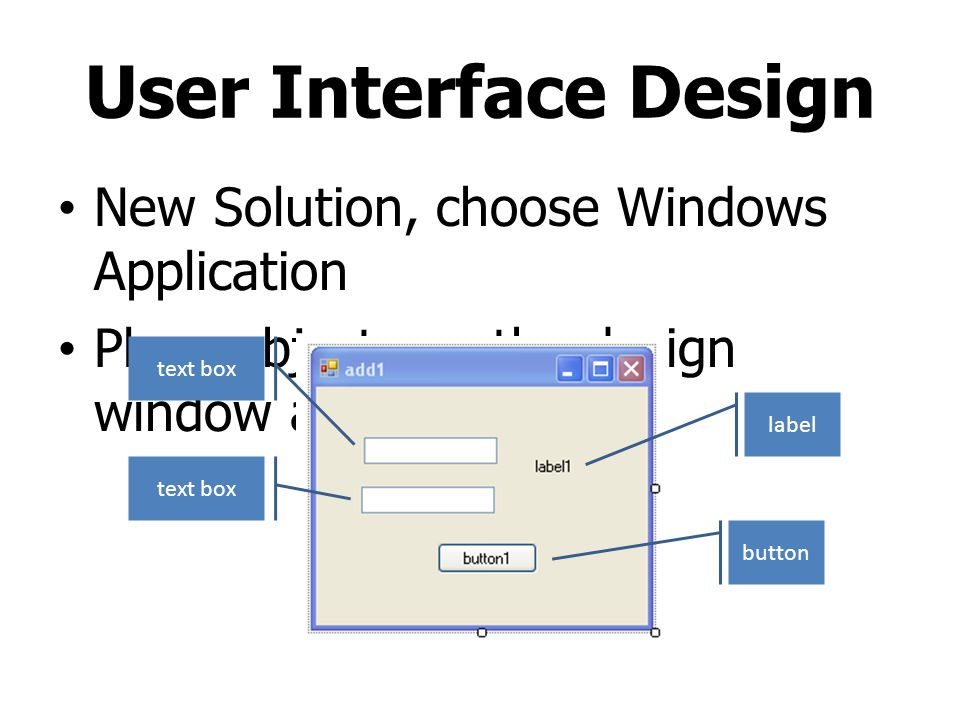 User Interface Design New Solution, choose Windows Application
