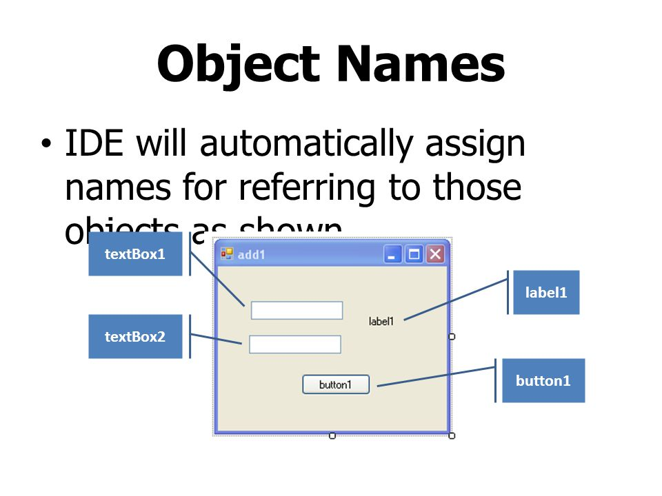 Object Names IDE will automatically assign names for referring to those objects as shown. textBox1.