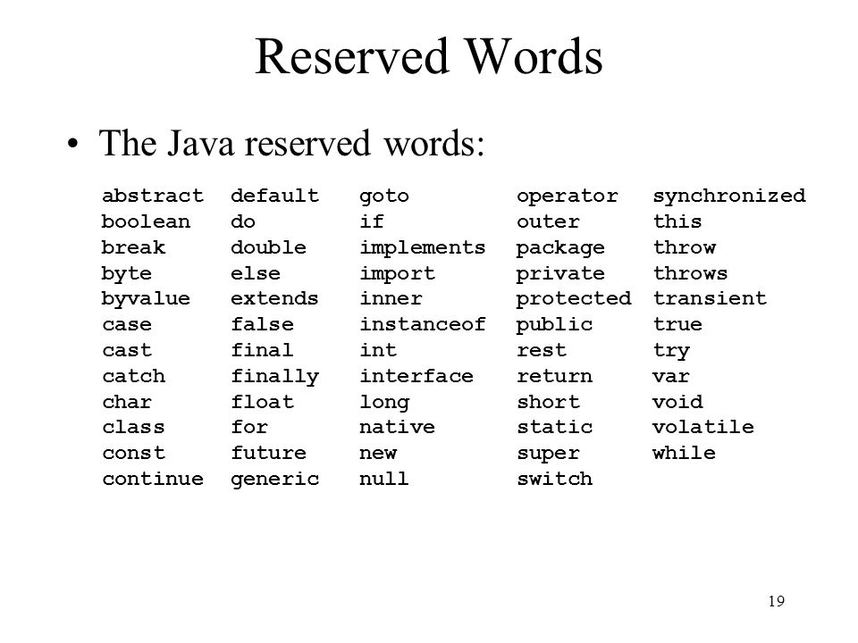 Reserved Words The Java reserved words: abstract boolean break byte