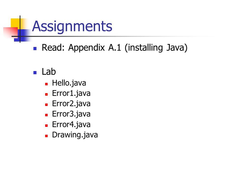 Assignments Read: Appendix A.1 (installing Java) Lab Hello.java