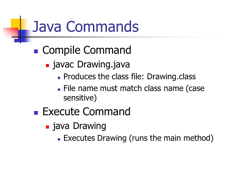 Java Commands Compile Command Execute Command javac Drawing.java
