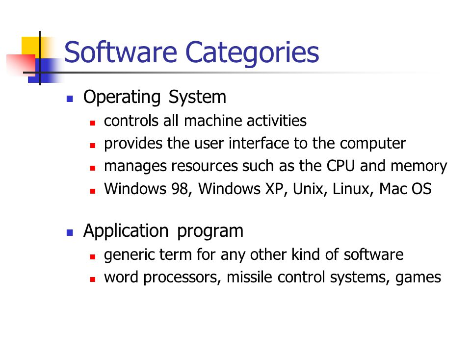 Software Categories Operating System Application program