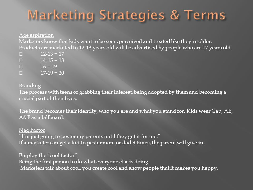 Marketing Strategies & Terms