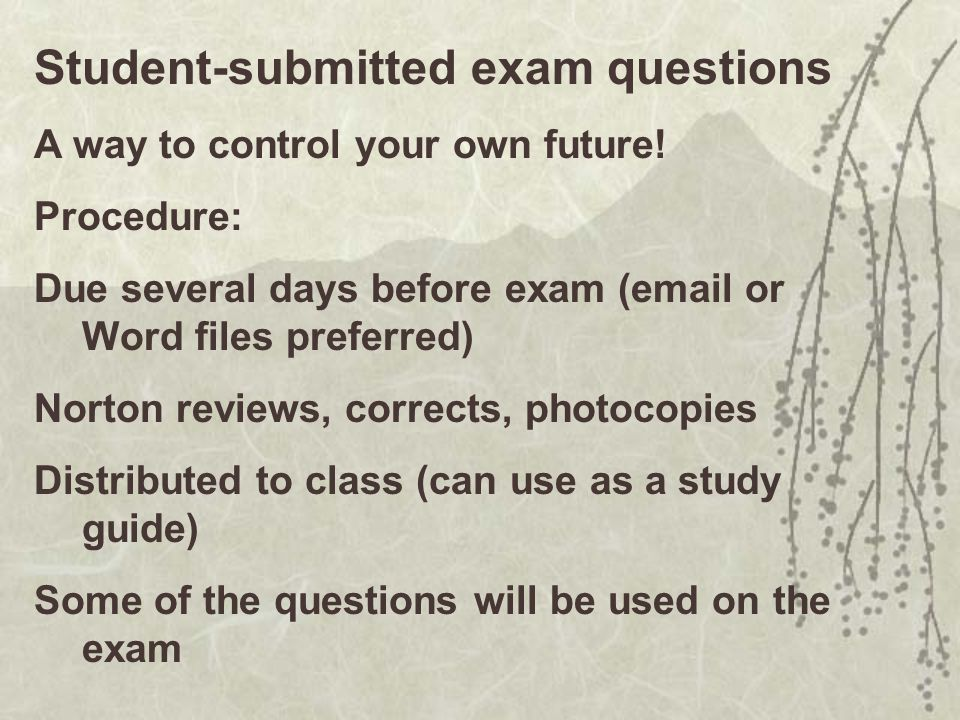 Student-submitted exam questions