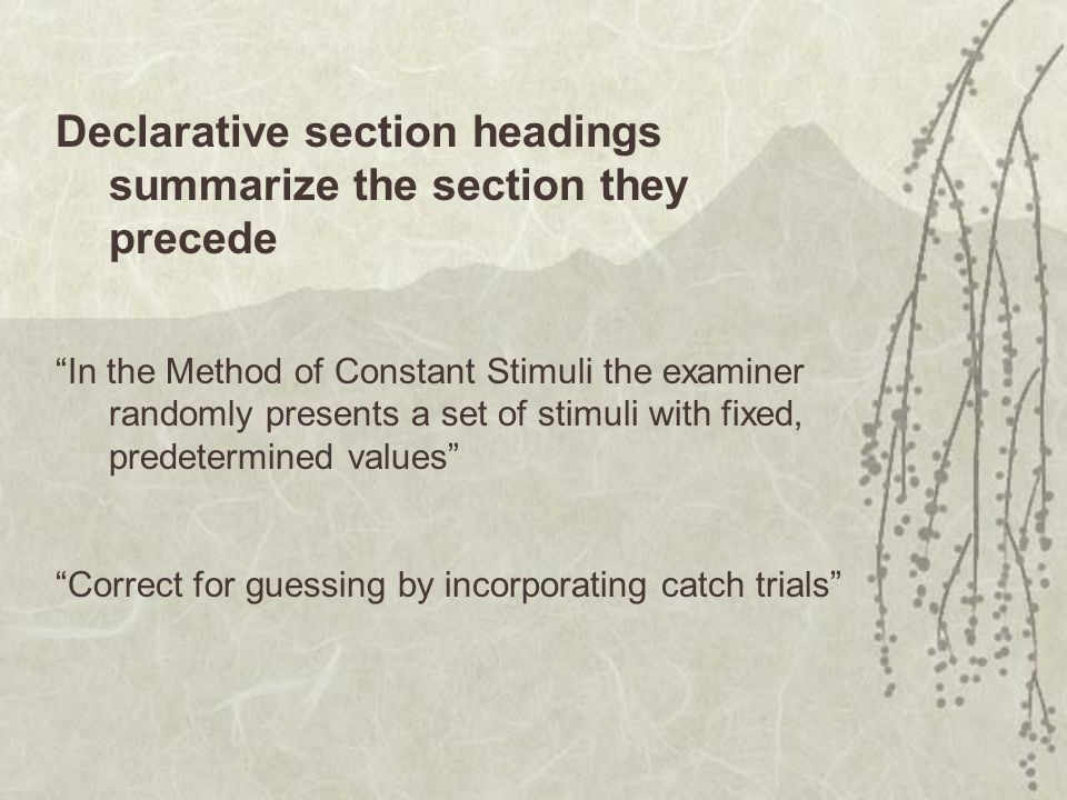 Declarative section headings summarize the section they precede