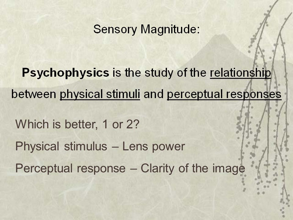 Which is better, 1 or 2 Physical stimulus – Lens power Perceptual response – Clarity of the image