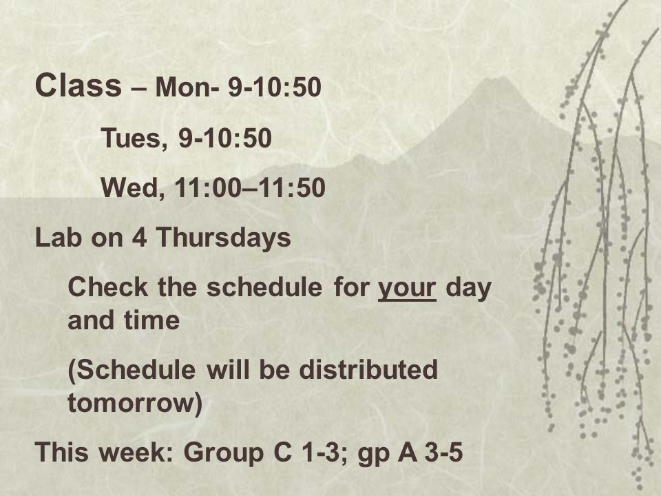 Class – Mon- 9-10:50 Tues, 9-10:50 Wed, 11:00–11:50 Lab on 4 Thursdays