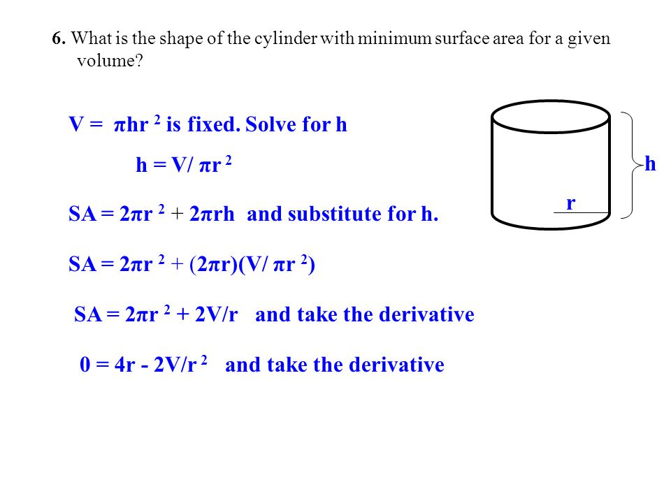 V = πhr 2 is fixed. Solve for h h = V/ πr 2 h