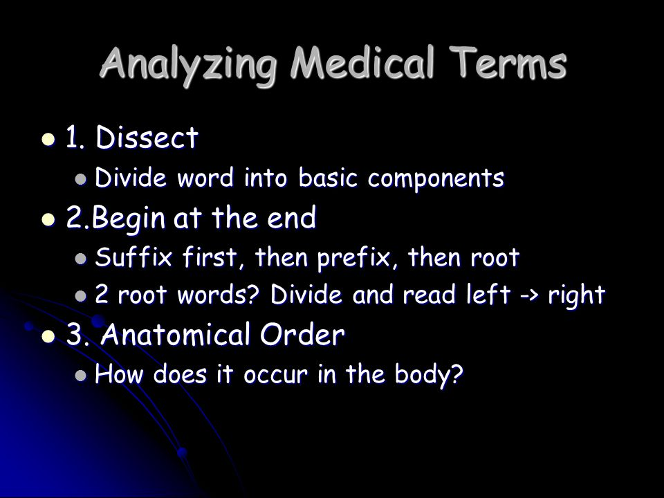 Analyzing Medical Terms
