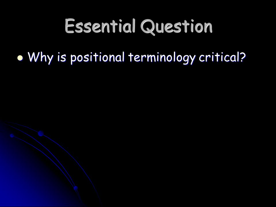 Essential Question Why is positional terminology critical