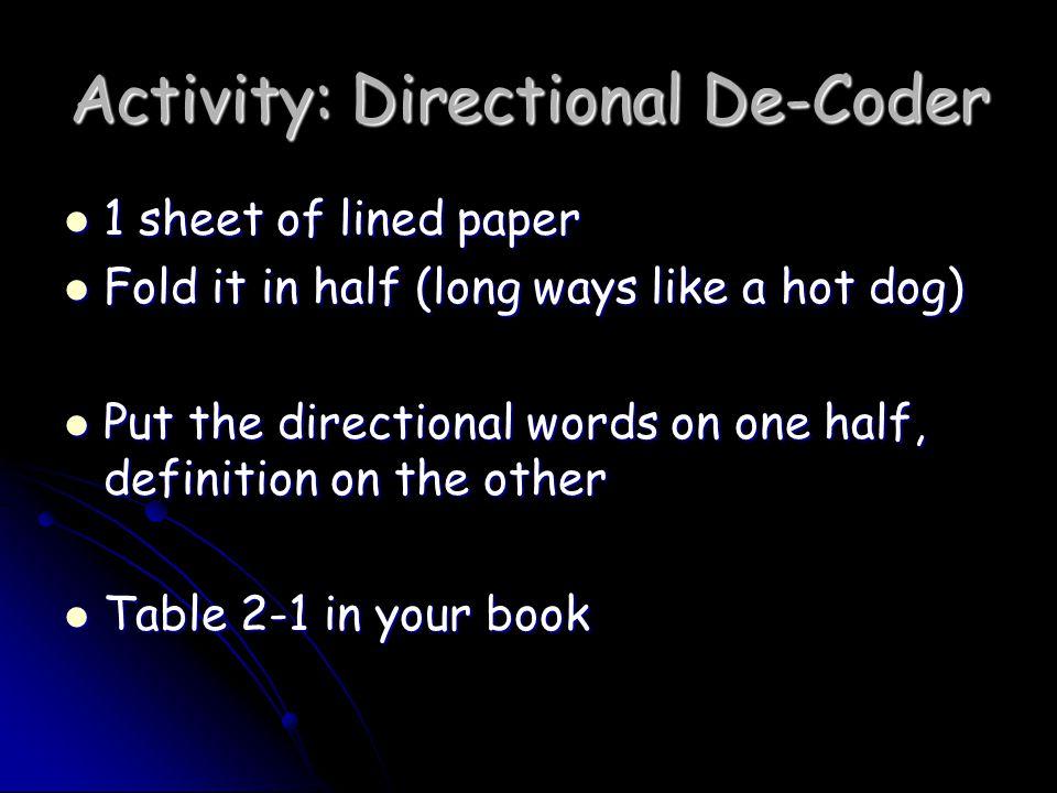 Activity: Directional De-Coder