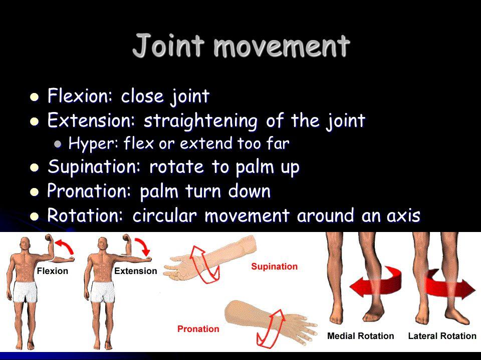 Joint movement Flexion: close joint