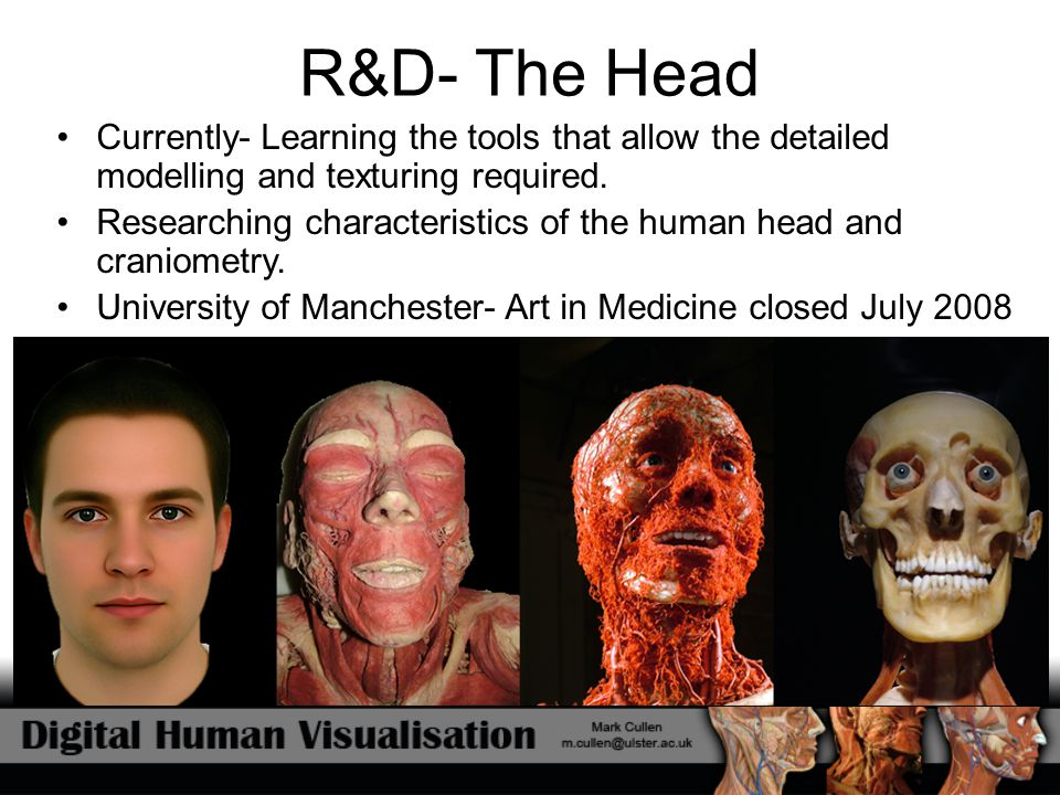 R&D- The Head Currently- Learning the tools that allow the detailed modelling and texturing required.
