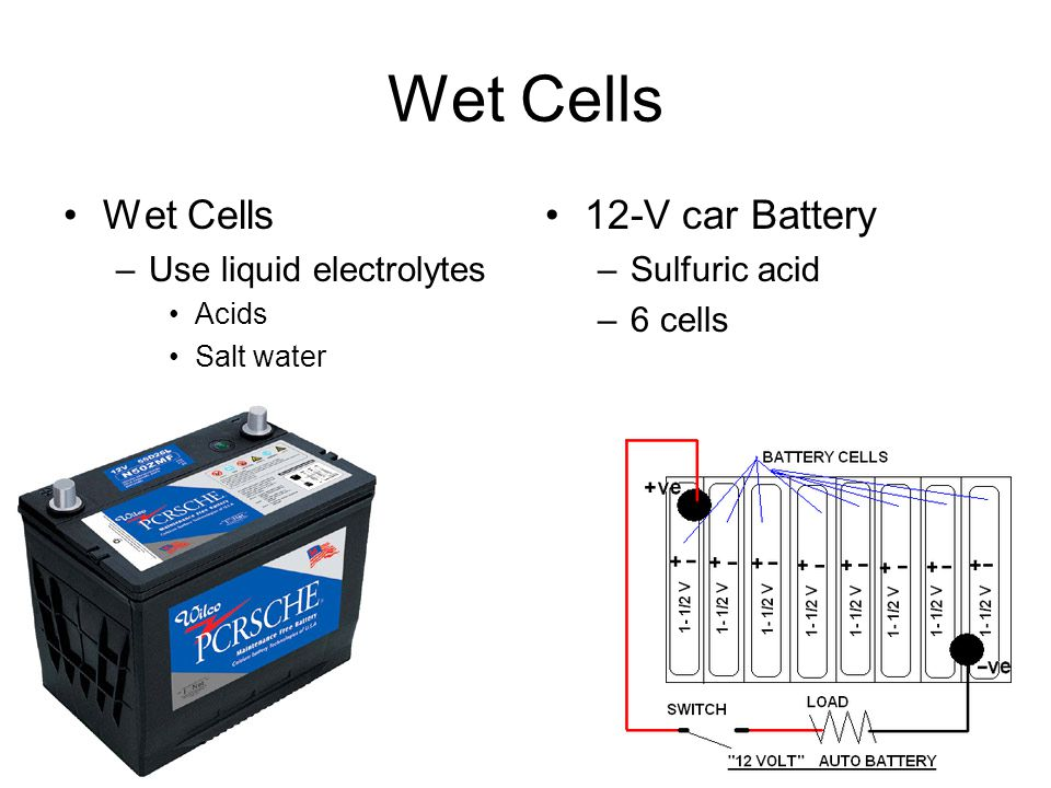 Wet Cells Wet Cells 12-V car Battery Use liquid electrolytes
