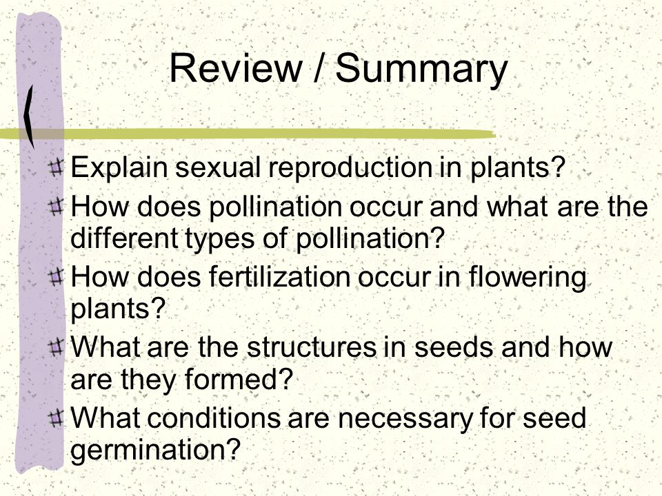 Review / Summary Explain sexual reproduction in plants