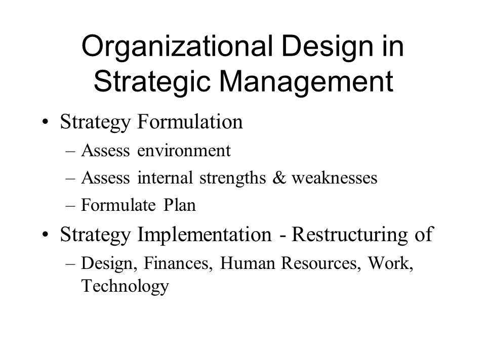 Organizational Design in Strategic Management