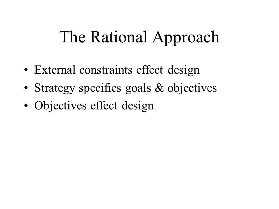 The Rational Approach External constraints effect design