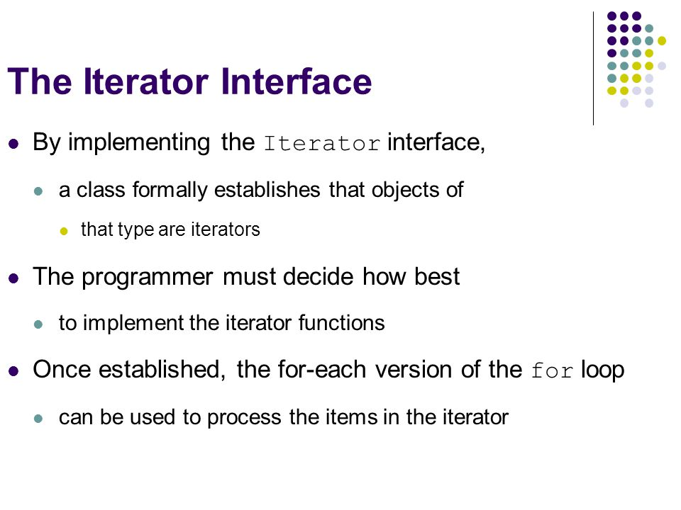 The Iterator Interface