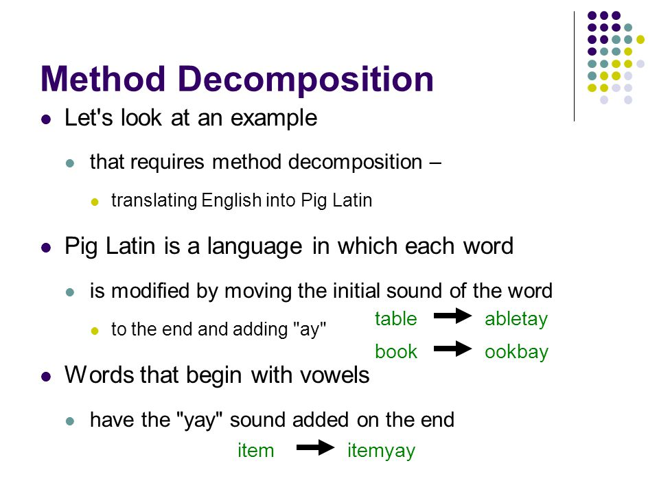 Method Decomposition Let s look at an example