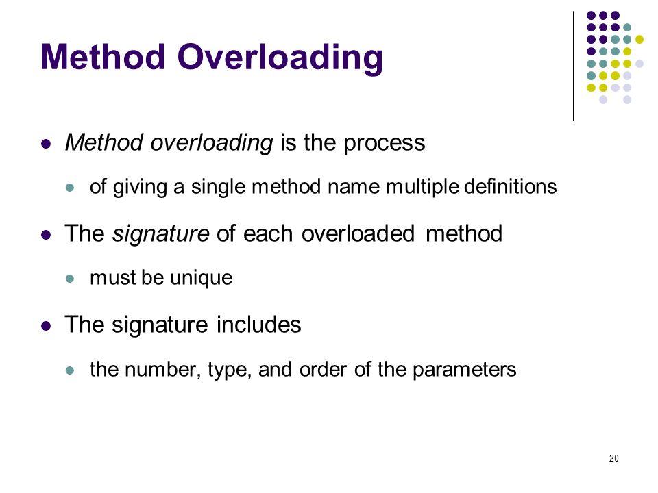 Method Overloading Method overloading is the process