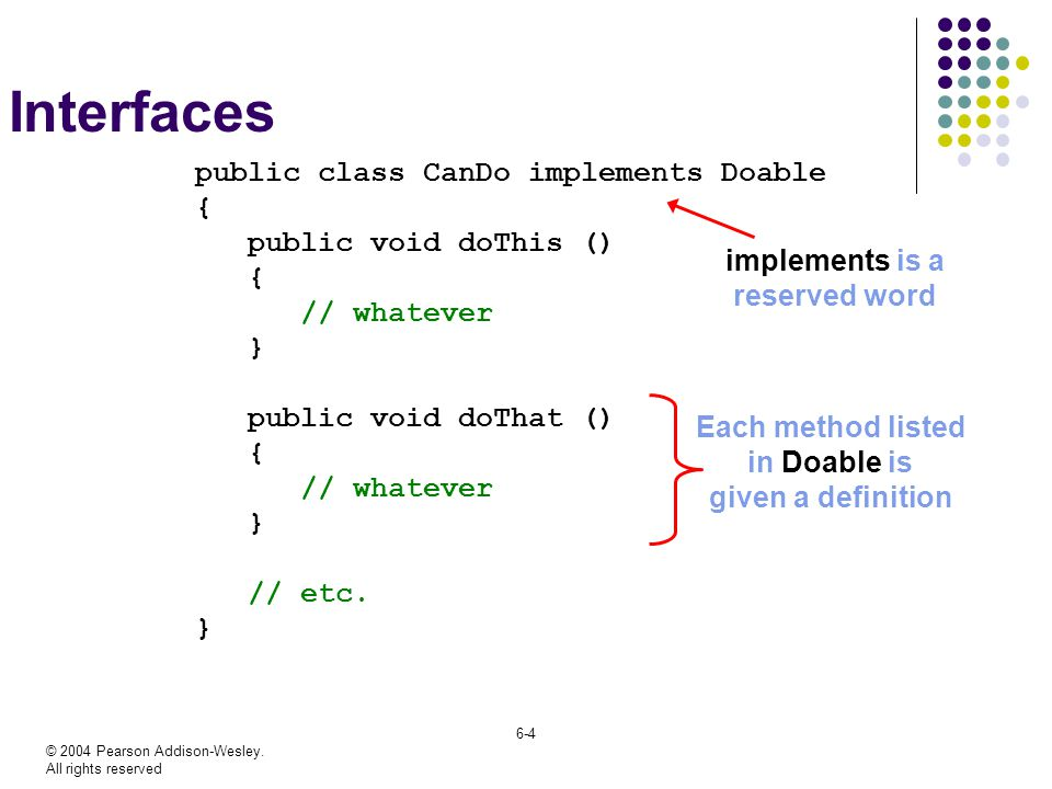 Interfaces public class CanDo implements Doable {