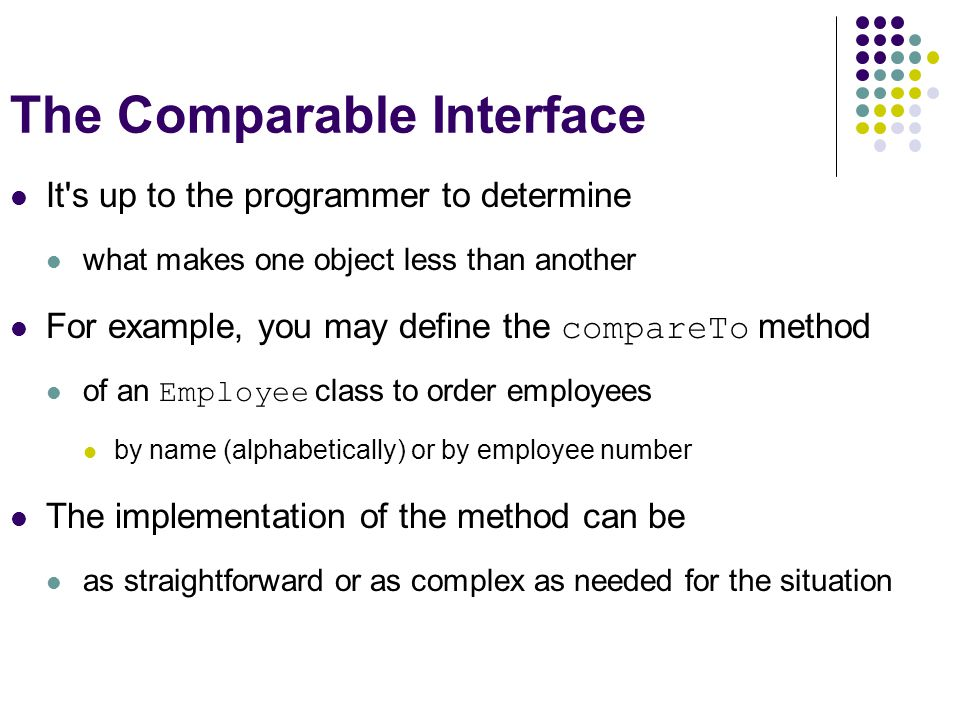The Comparable Interface