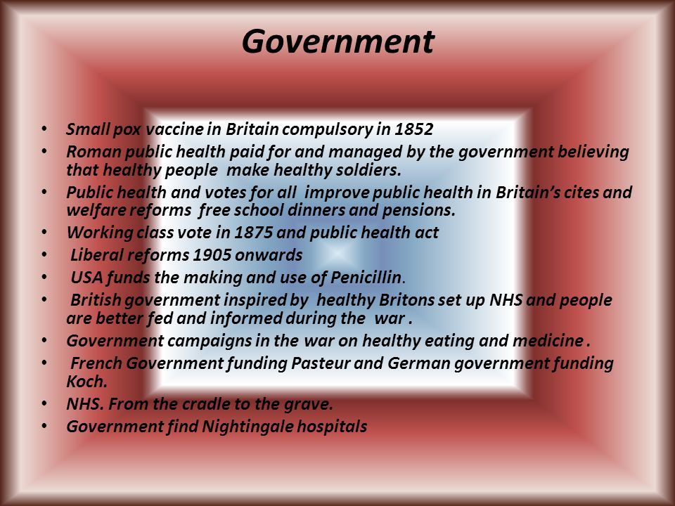 Government Small pox vaccine in Britain compulsory in 1852