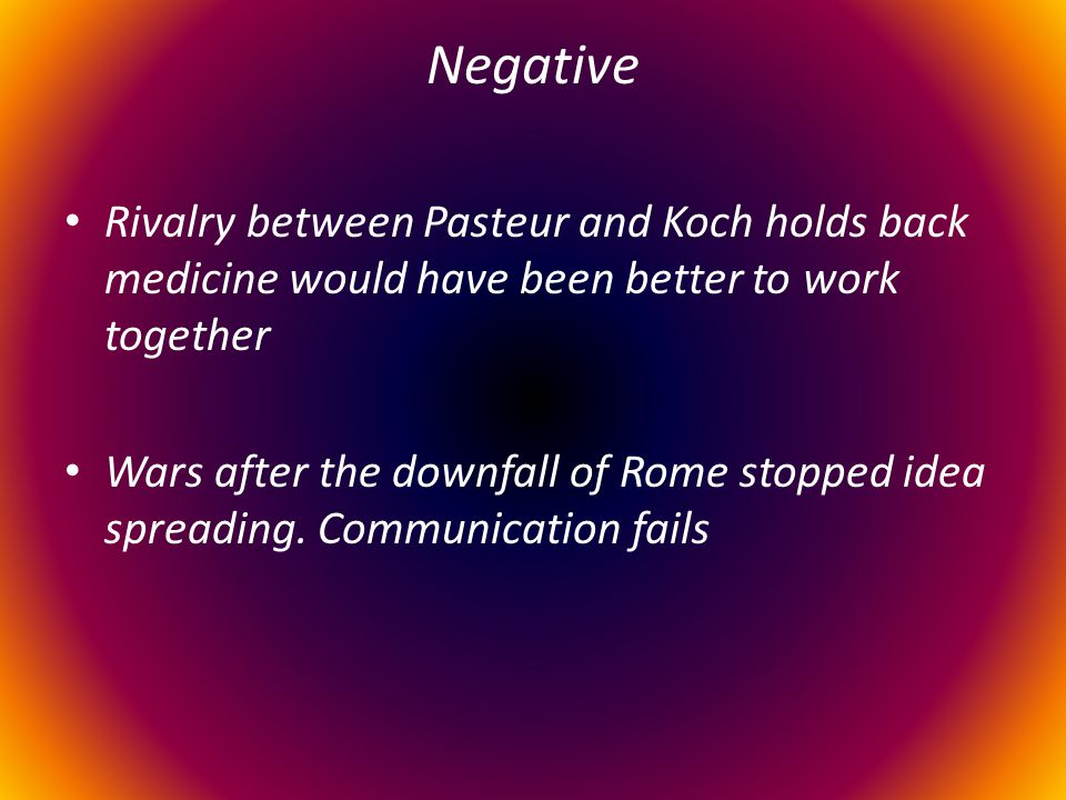 Negative Rivalry between Pasteur and Koch holds back medicine would have been better to work together.