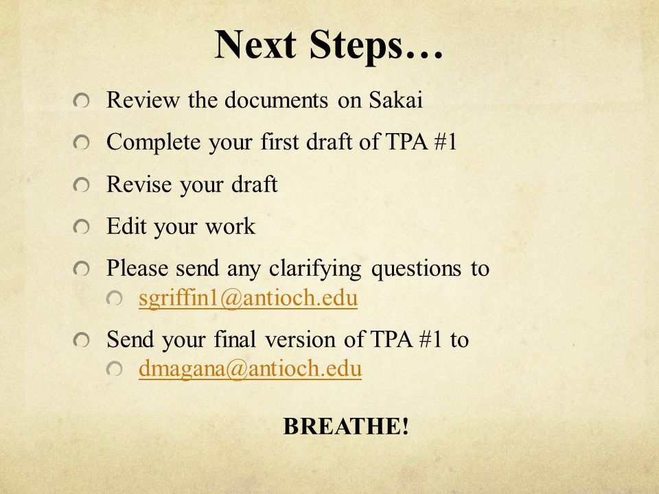Next Steps… Review the documents on Sakai