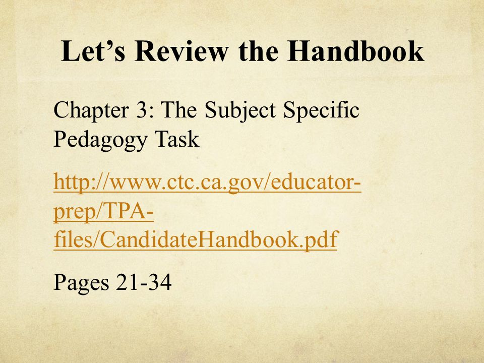 Let's Review the Handbook
