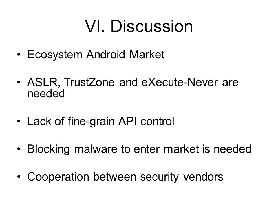 VI. Discussion Ecosystem Android Market