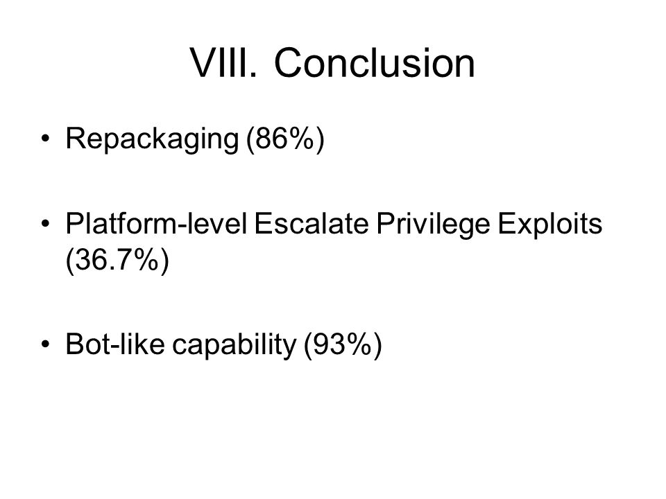 VIII. Conclusion Repackaging (86%)