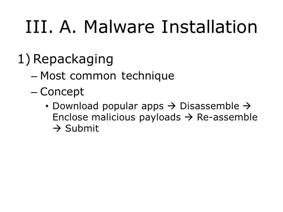 III. A. Malware Installation