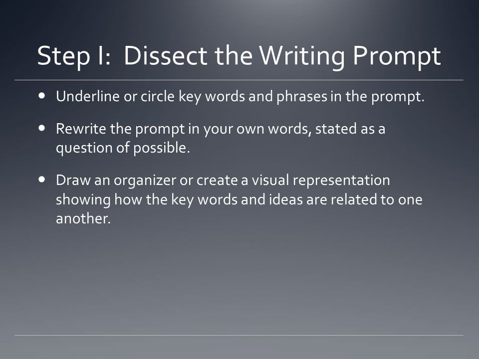 Step I: Dissect the Writing Prompt
